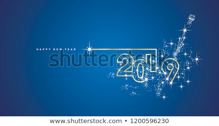 Happy New Year 2019 Illustration with Typography Letter, Gold Cutout Paper Star and Ornamental Ball  Stock photo © articular