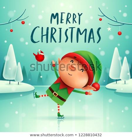 Merry Christmas! Little elf on skates in Christmas snow scene winter landscape. Stock photo © ori-artiste