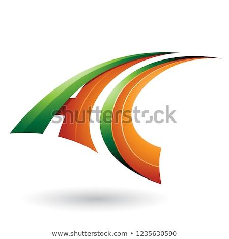 Groene oranje dynamisch vliegen letter c vector Stockfoto © cidepix