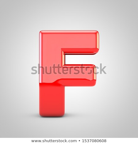 Red glossy font Letter F 3D Stock photo © djmilic