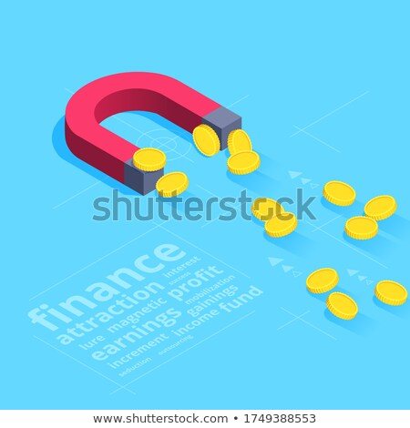gold bitcoin currency sign on red magnet 3d stock photo © djmilic