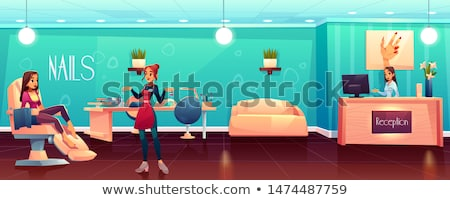 spa salon manicurist with client and tools vector stock photo © robuart