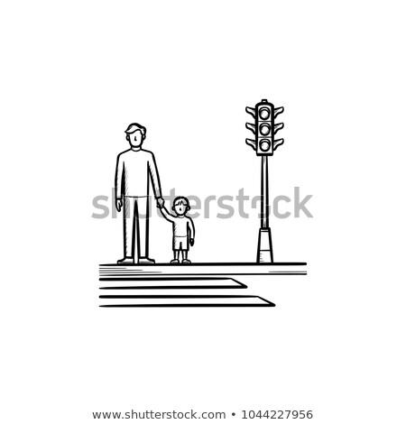 Dziecko rodziców chodniku szkic ikona Zdjęcia stock © RAStudio