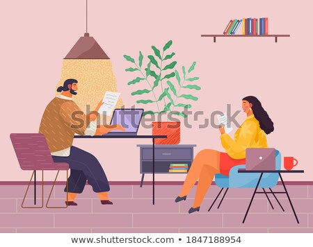 Mannelijke lezing documentatie vrouw laptop vector Stockfoto © robuart