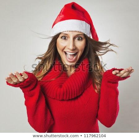 肖像 ブルネット 女性 着用 サンタクロース 赤 ストックフォト © deandrobot