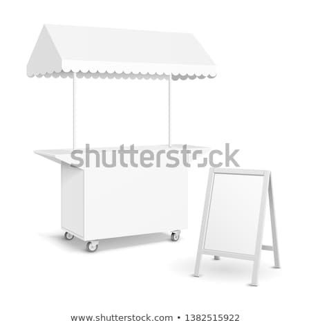 Stall for sale of food product isolated on white background. Tent on the marketplace. Happy ginger s Stock photo © Lady-Luck