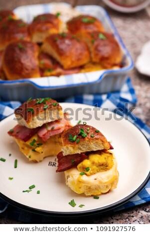 Frühstück Speck Essen Hintergrund Brot Tasse Stock foto © zoryanchik