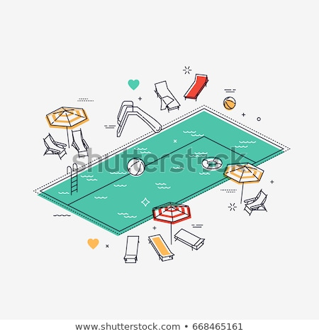 beach outline isometric icons stock photo © netkov1