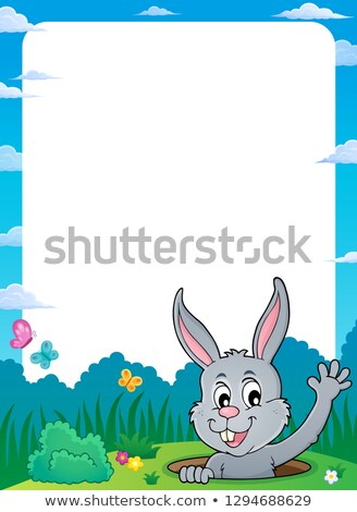 Frame with lurking Easter bunny theme 1 Stock photo © clairev