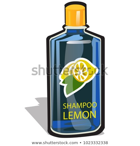 Plastic bottle with a cap filled with a lemon-scented shampoo isolated on white background. Vector c Stock photo © Lady-Luck