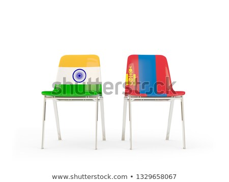 two chairs with flags of india and mongolia stock photo © mikhailmishchenko