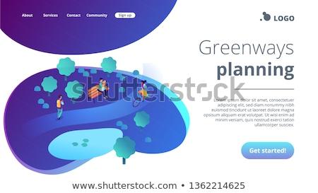 Ecológico 3D aterrizaje página minúsculo Foto stock © RAStudio