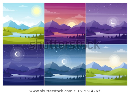 conjunto · natureza · caverna · ilustração · sol · arte - foto stock © bluering