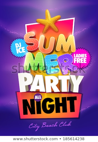 Vektor Sommer Party Flyer Design 3D Stock foto © articular