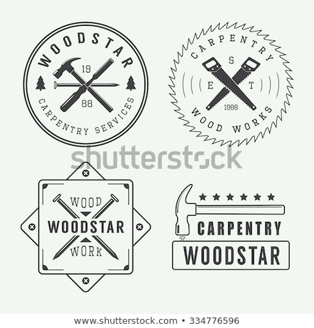 vector set of vintage carpentry emblems stock photo © netkov1