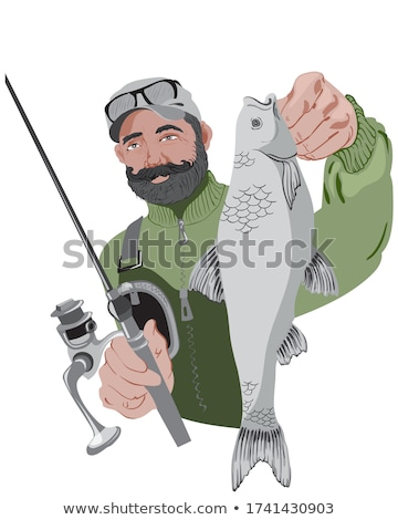 Fisherman Holding Fishing-Rod, Green Nature Vector Stock photo © robuart
