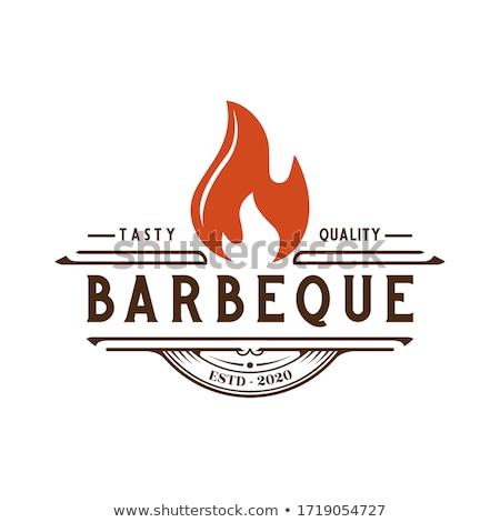 Varkensvlees barbecue landschap groot vlees stukken Stockfoto © prill