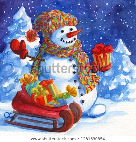 Дед Мороз снеговик красный сани иллюстрация фон Сток-фото © bluering