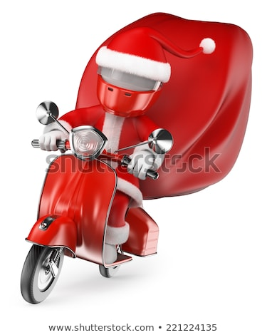 3D white people. Santa Claus riding on a red bike Stock photo © texelart