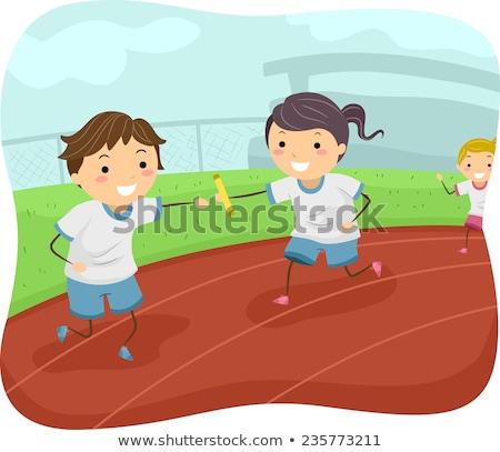 Gyerekek egyenruha játék fut illusztráció visel Stock fotó © lenm