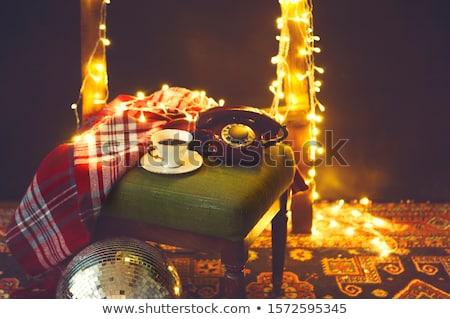 New Year's eve or Christmas still life with retro phone, disco b Stock photo © dashapetrenko
