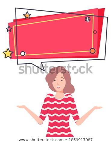 Legjobb ajánlat árengedmény zsákmányolás boldog lány felajánlás Stock fotó © robuart