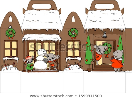 Printable gift house with happy holiday rats. New Year Decor template house. Vector packaging design Stock photo © vasilixa