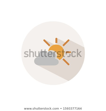 Sun and cloud. Icon with shadow on a beige circle. Fall vector illustration Stock photo © Imaagio