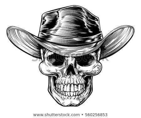Szkic czaszki cowboy hat szyi szalik rewolwer Zdjęcia stock © netkov1