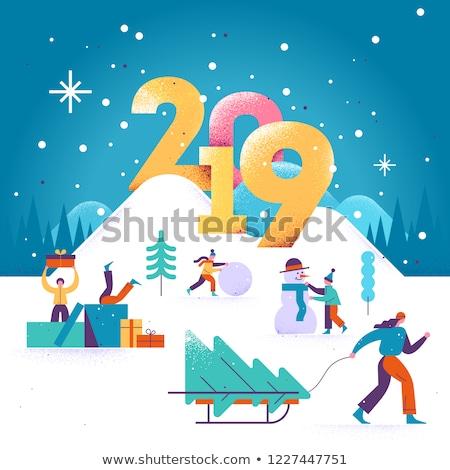 Merry Christmas People Walking Outdoors Vector Stock photo © robuart