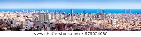 Barcelona sziluett felső kilátás festői városkép Stock fotó © ShustrikS