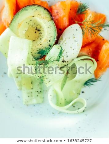 Friss lazac saláta avokádó krémes mascarpone Stock fotó © Anneleven