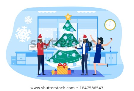 Merry Christmas Poster with People in Wintertime Stock photo © robuart