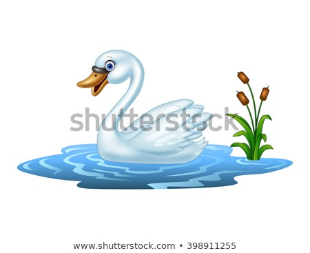 Cartoon zwaan natuur ontwerp vogel Blauw Stockfoto © nezezon