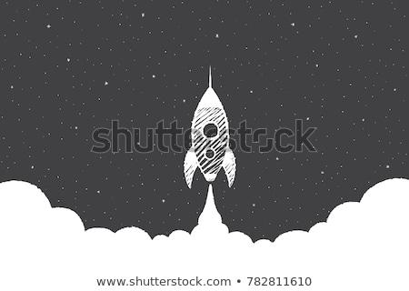 Dessinés à la main fusée tableau noir pièce graphique Photo stock © AndreyPopov