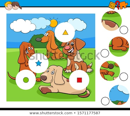 jigsaw puzzle game with cute dog characters Stock photo © izakowski