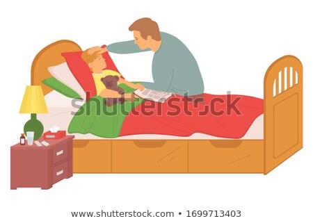 Pai temperatura filho doente criança vetor Foto stock © robuart