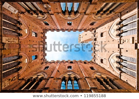 wall of the courtyard in palazzo pubblico siena tuscany stock photo © wjarek