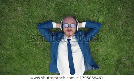 Gülen adam çim manzara bahçe park Stok fotoğraf © photography33