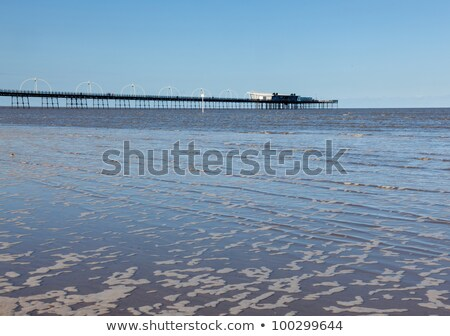 high tide at southport pier in england stock photo © backyardproductions
