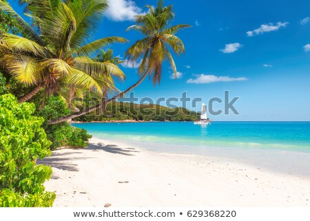 Stock photo: Tropical beach and sailing boat