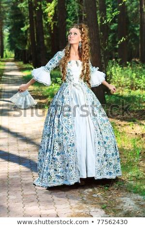 Portret elegancki moda kobieta średniowiecznej era Zdjęcia stock © gromovataya