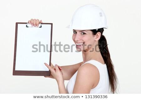 Foto stock: Bonitinho · feminino · aprendiz · indicação · clipboard · menina