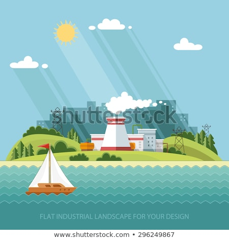 Green Landscape with City Lake and Nuclear Power Plant Stock photo © WaD