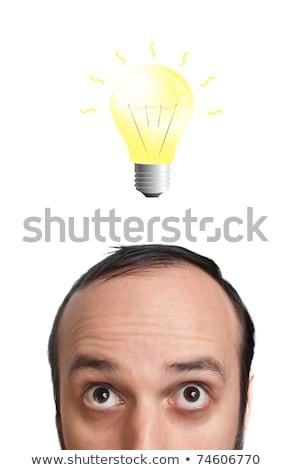 drôle · jeune · homme · ampoule · tête · isolé · blanche - photo stock © ra2studio
