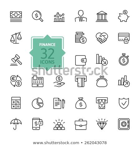 вектора · икона · банка · трава · знак · монеты - Сток-фото © zzve