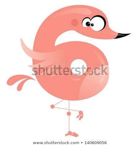 Numer cartoon funny różowy Czerwonak stałego Zdjęcia stock © Thodoris_Tibilis