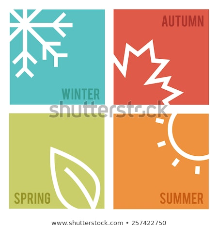 Négy évszak kártya virág tavasz terv gyümölcs Stock fotó © carodi