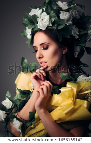 Kegyelmes tündér gyönyörű nő fehér hosszú Stock fotó © blanaru