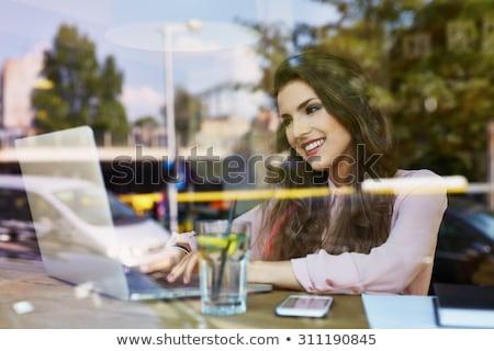 肥満した · 女性実業家 · 座って · カフェ · コーヒー - ストックフォト © vlad_star